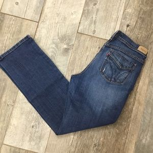 Levi's 505 Straight Leg Med Wash Distressed Jeans